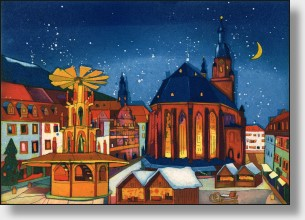 Graphic - Heidelberger Weihnachtsmarkt - original color etching from Gerhard Hofmann